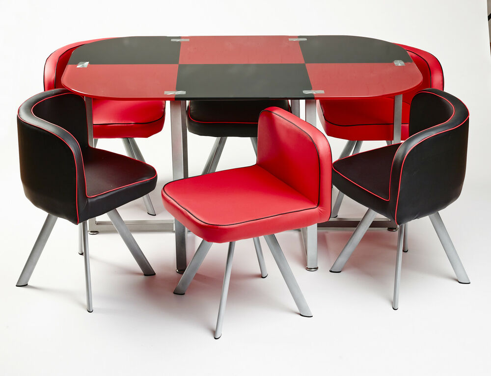 Modern glass dining table with 6 leather chairs unique for Unique dining table sets