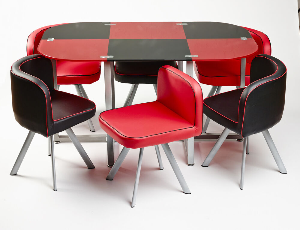 Modern glass dining table with 6 leather chairs unique contemporary design ebay - Designer glass dining tables ...