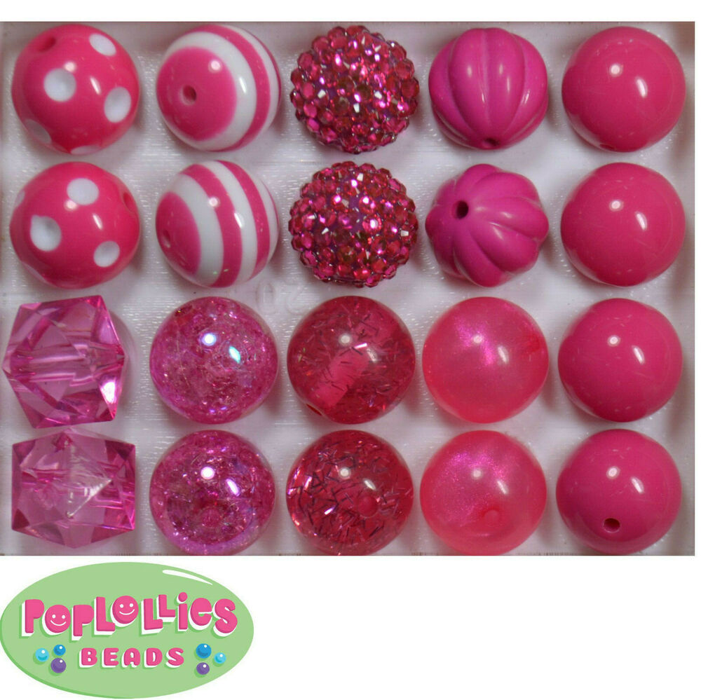 Details About 20mm Hot Pink Mixed Style Bubblegum Beads Lot 20 Pc Chunky Gumball