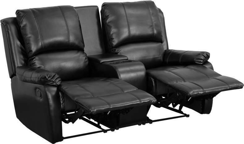 Black Leather Pillowtop 2 Seat Home Theater Recliner With