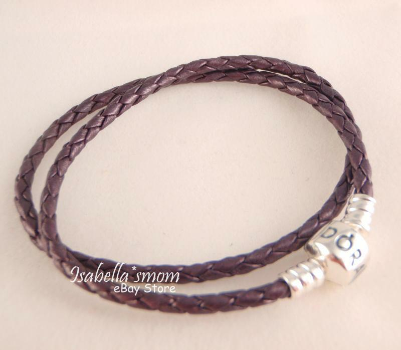 Jewelry Stores That Sell Pandora Bracelets: Genuine PANDORA Purple LEATHER/Silver Clasp DOUBLE