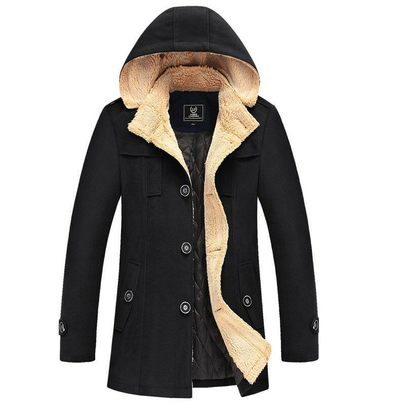 Mens Black Military Style Hooded Trench Coat – Onetify   Mens Trench Coat With Hood