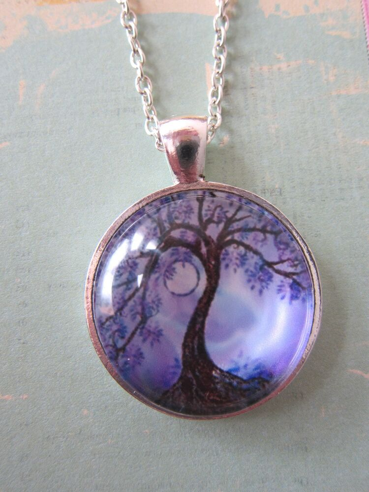 Handmade Tree Of Life Silver Plated Pendant Glass Necklace New In Gift Bag Ebay