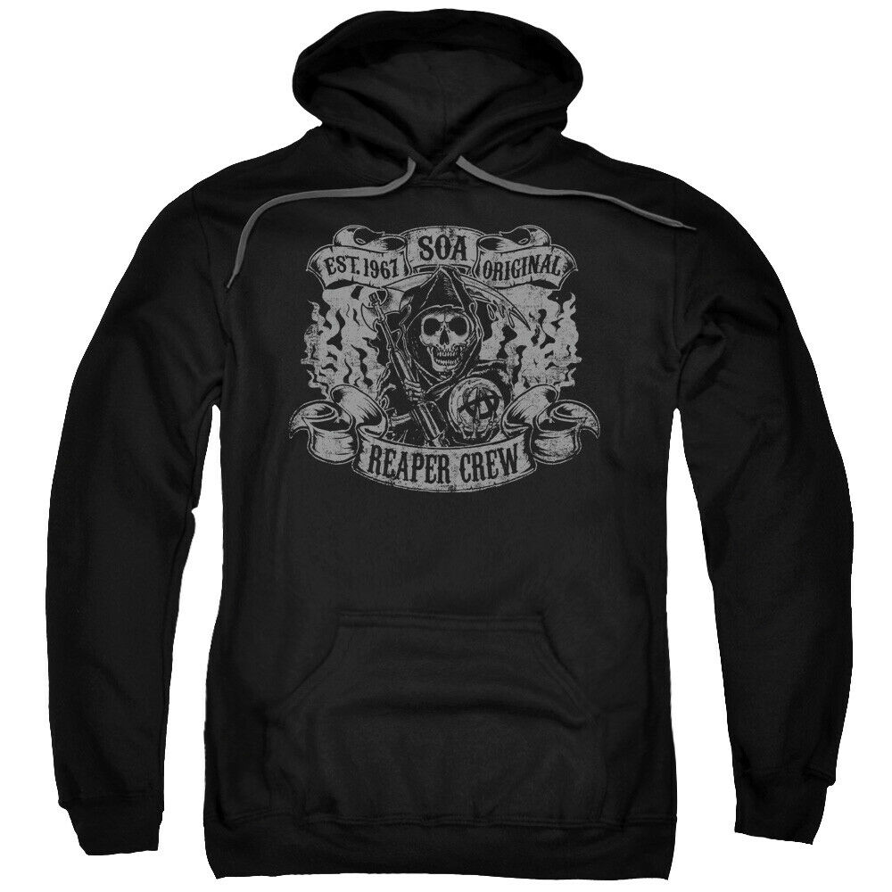 sons of anarchy reaper crew licensed adult pullover hoodie. Black Bedroom Furniture Sets. Home Design Ideas