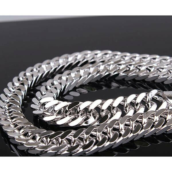24 Quot Double Curb Chain Heavy 24k White Gold Filled Mens