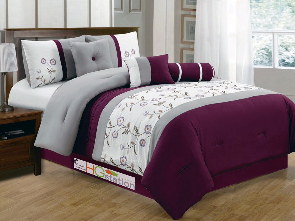11 Floral Striped Embroidery Comforter Curtain Set Purple