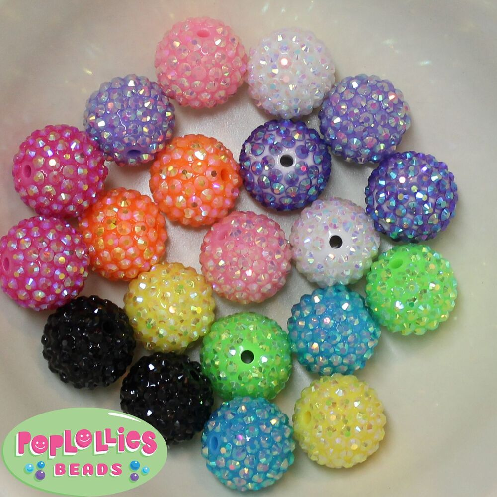 20mm Bead Beads: 20mm Bubblegum Beads 20 RAINBOW MIX Rhinestone Beads