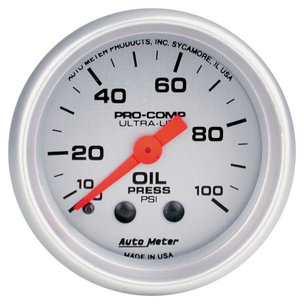 Autometer 4368 Ultra Lite Electric Water Pressure Gauge: Auto Meter Oil Pressure 52mm Mechanical Pro Comp Ultralite