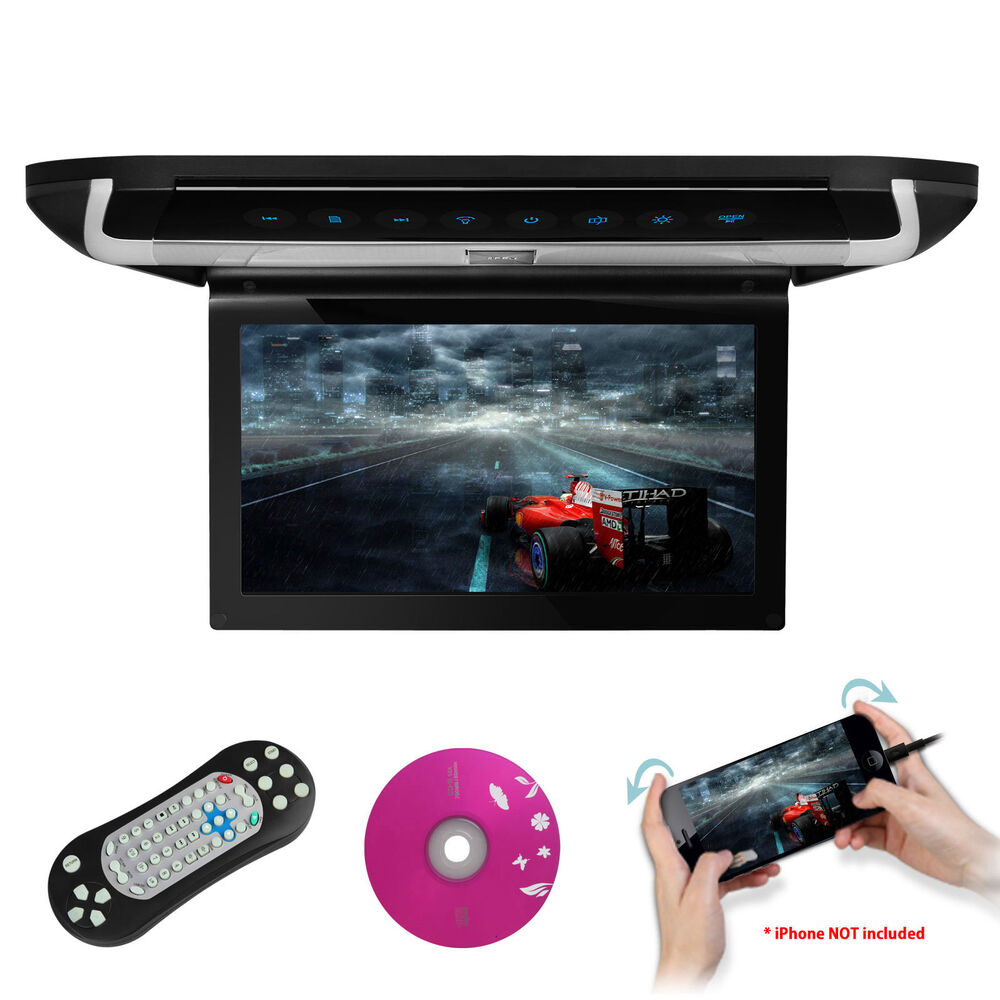 """HDMI 10"""" Car Flip Down Overhead Roof Monitor DVD Player"""