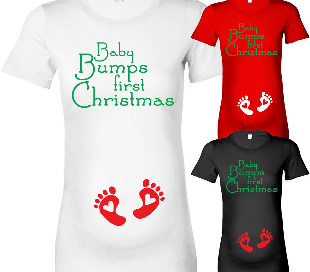 f1e8b2ff48730 Details about WOMENS BABY BUMPS FIRST CHRISTMAS MATERNITY T-SHIRT PREGNANCY  T SHIRT XMAS GIFT