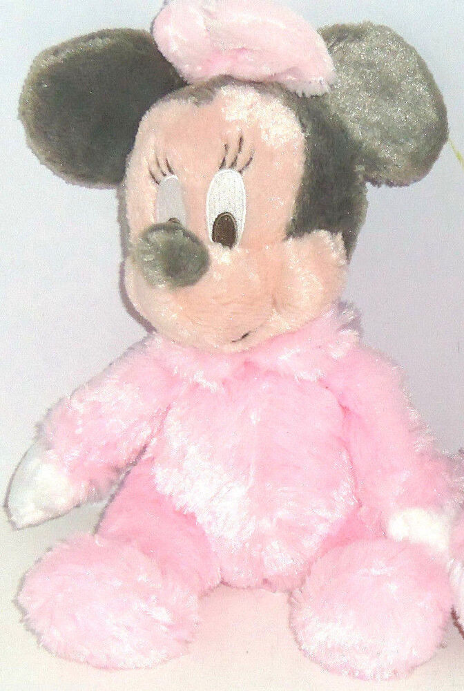 Disney Minnie Mouse Plush Toy Rattle Pink Baby Soft Theme
