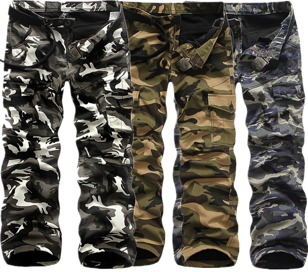 Mens Winter Cotton Fleece Lined Army Camo Cargo Combat Work Long ...