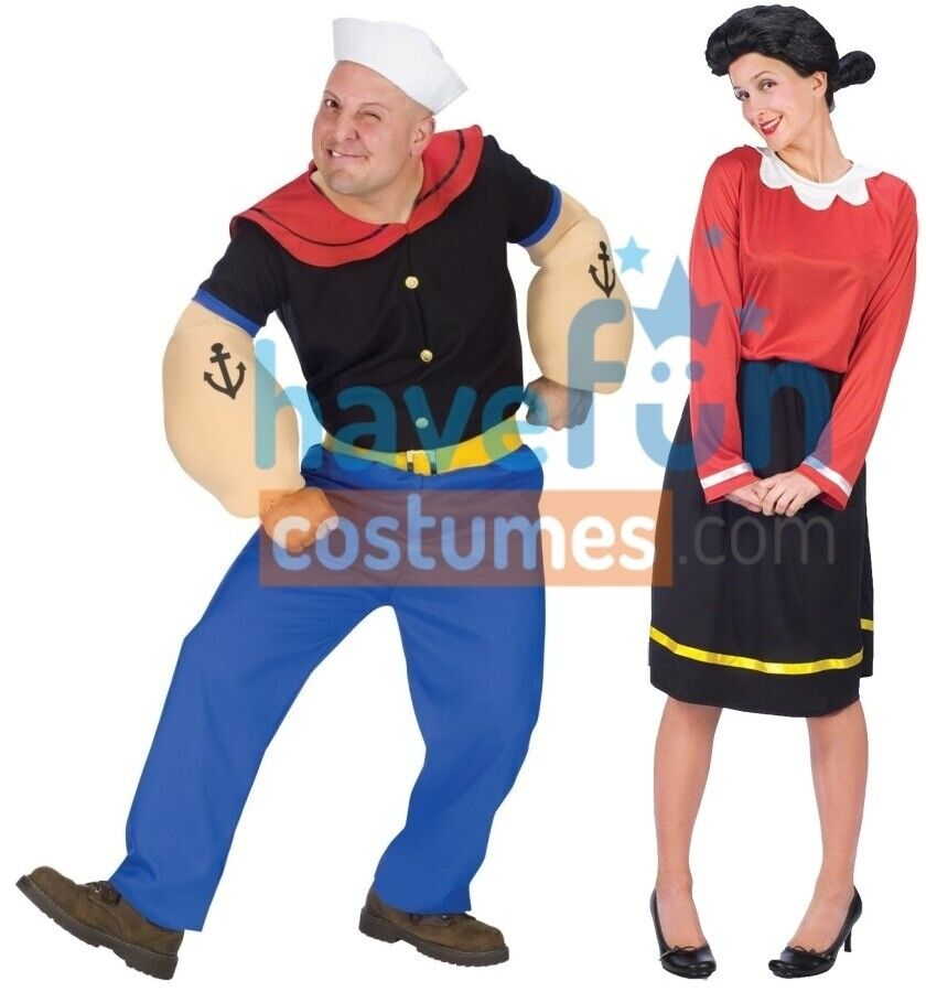 couples popeye and olive oyl adult costume funny pair duo theme party halloween ebay. Black Bedroom Furniture Sets. Home Design Ideas