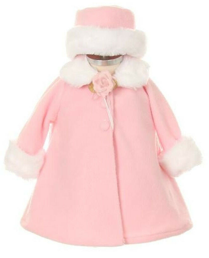 Baby girls a line pink fleece coat jacket w white fur trim amp hat