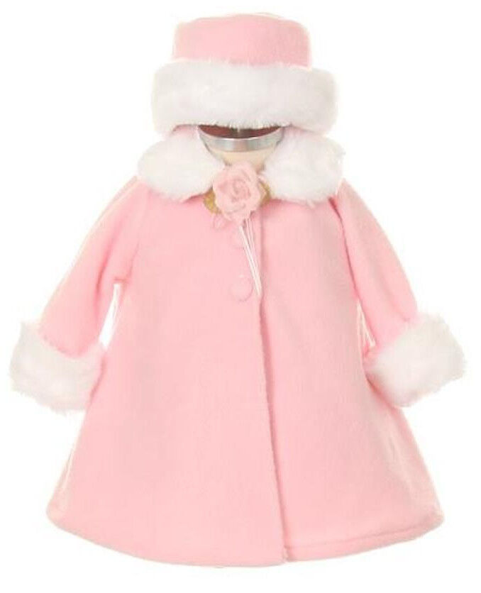 Baby Girls A Line Pink Fleece Coat Jacket W White Fur