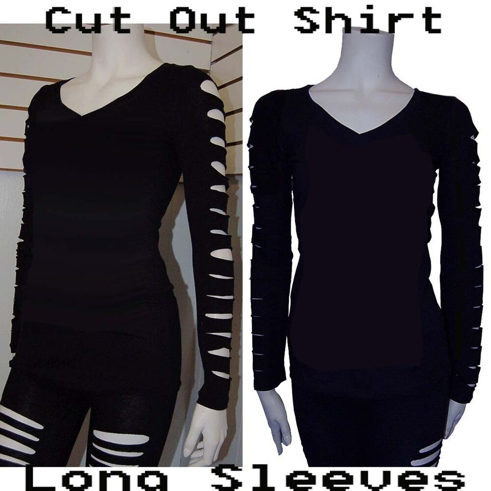 New Cut Out Ripped Arms Long Sleeve Shirt Stretch Black