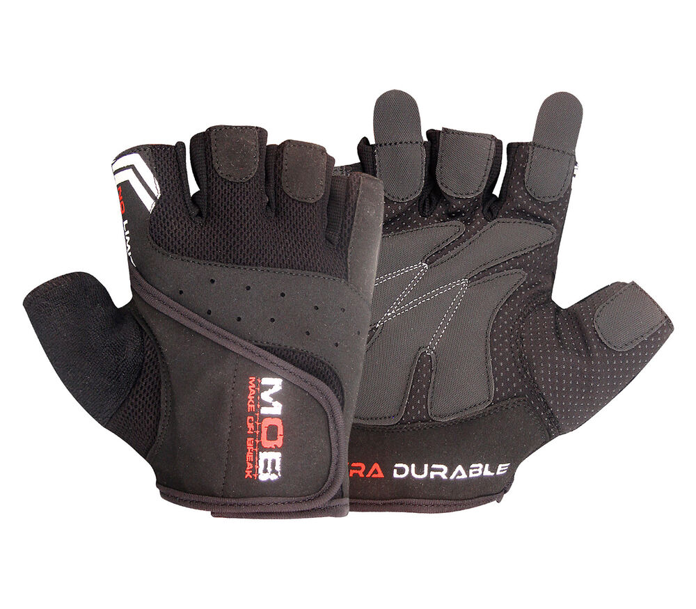 Small Gym Bodybuilding Black Leather Fitness Lifting: GYM LEATHER WEIGHT LIFTING PADDED GLOVES FITNESS TRAINING
