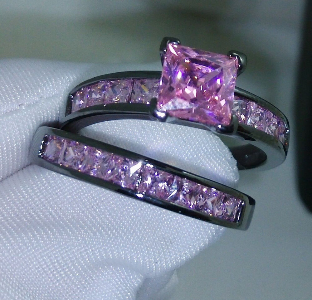 Noble Pricess Cut Pink Sapphire 10KT Black Gold Filled Wedding Ring Set Sz 5