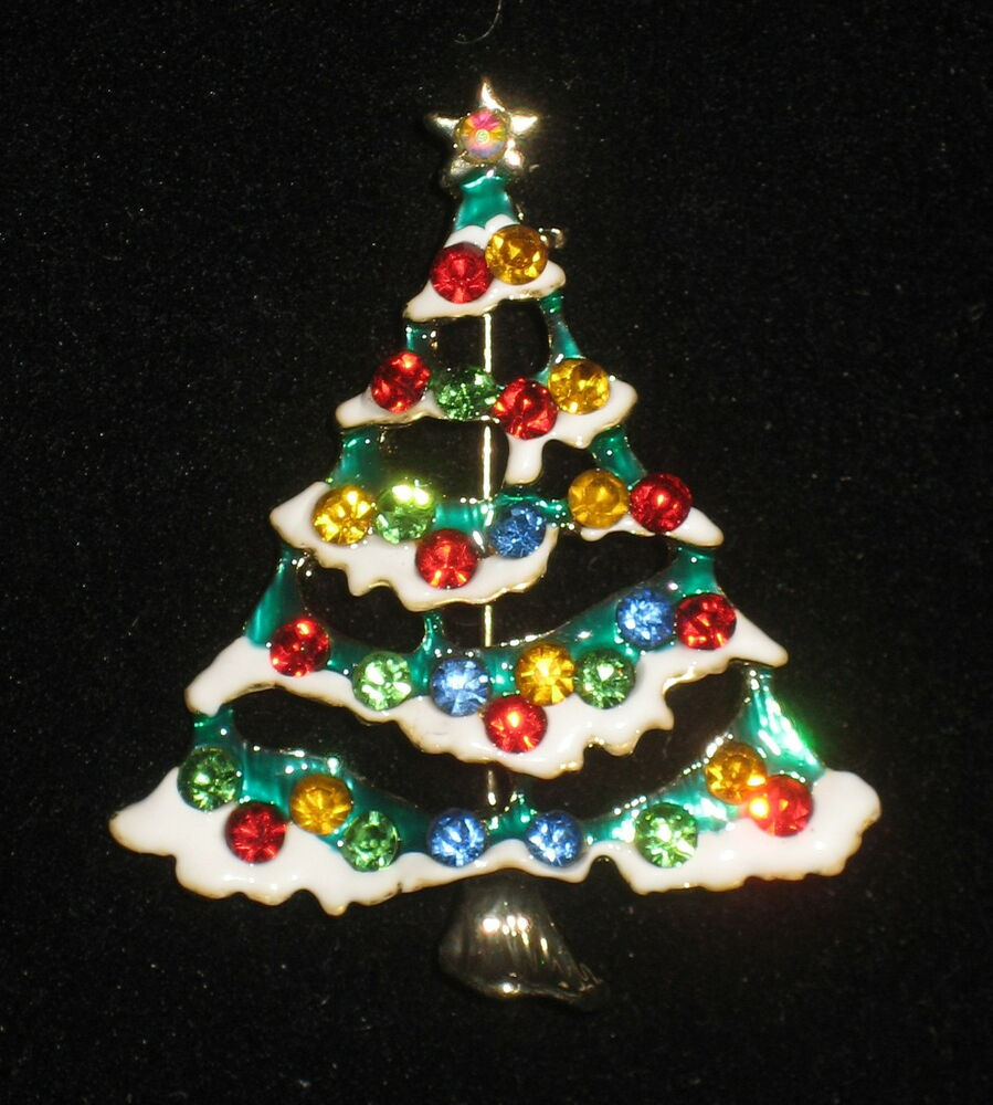 Christmas tree pin crystals snow gold tone brooch red blue for Red green gold white christmas tree