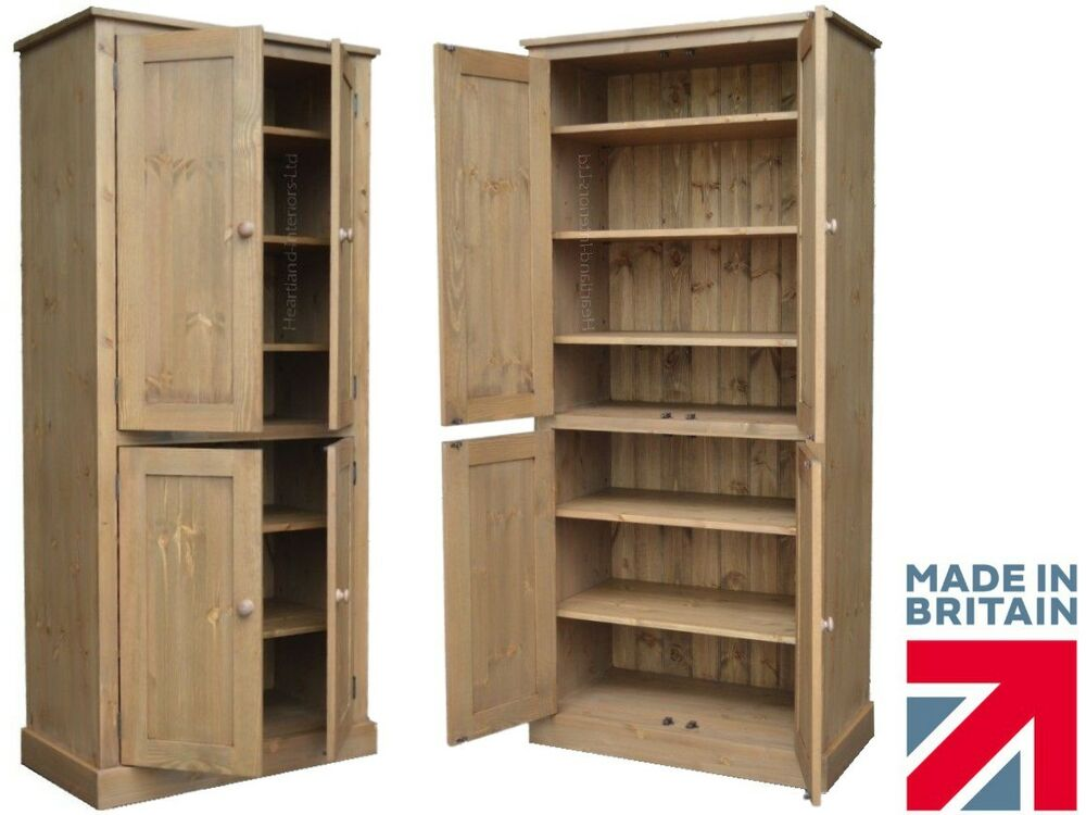 Solid Pine Storage Cupboard 4 Door Linen Pantry Shoe School Kitchen Cabinet Ebay