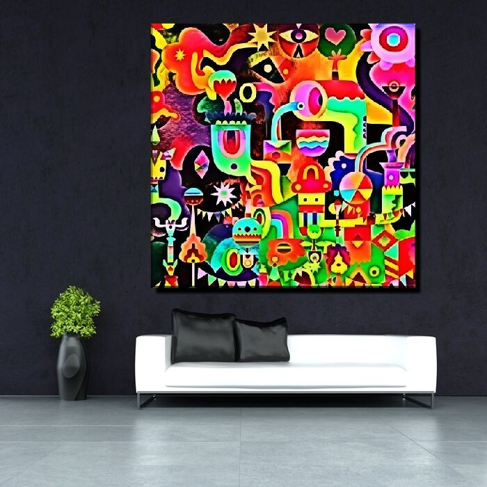 leinwand bild xxl pop art graffiti moderne kunst abstrakt. Black Bedroom Furniture Sets. Home Design Ideas