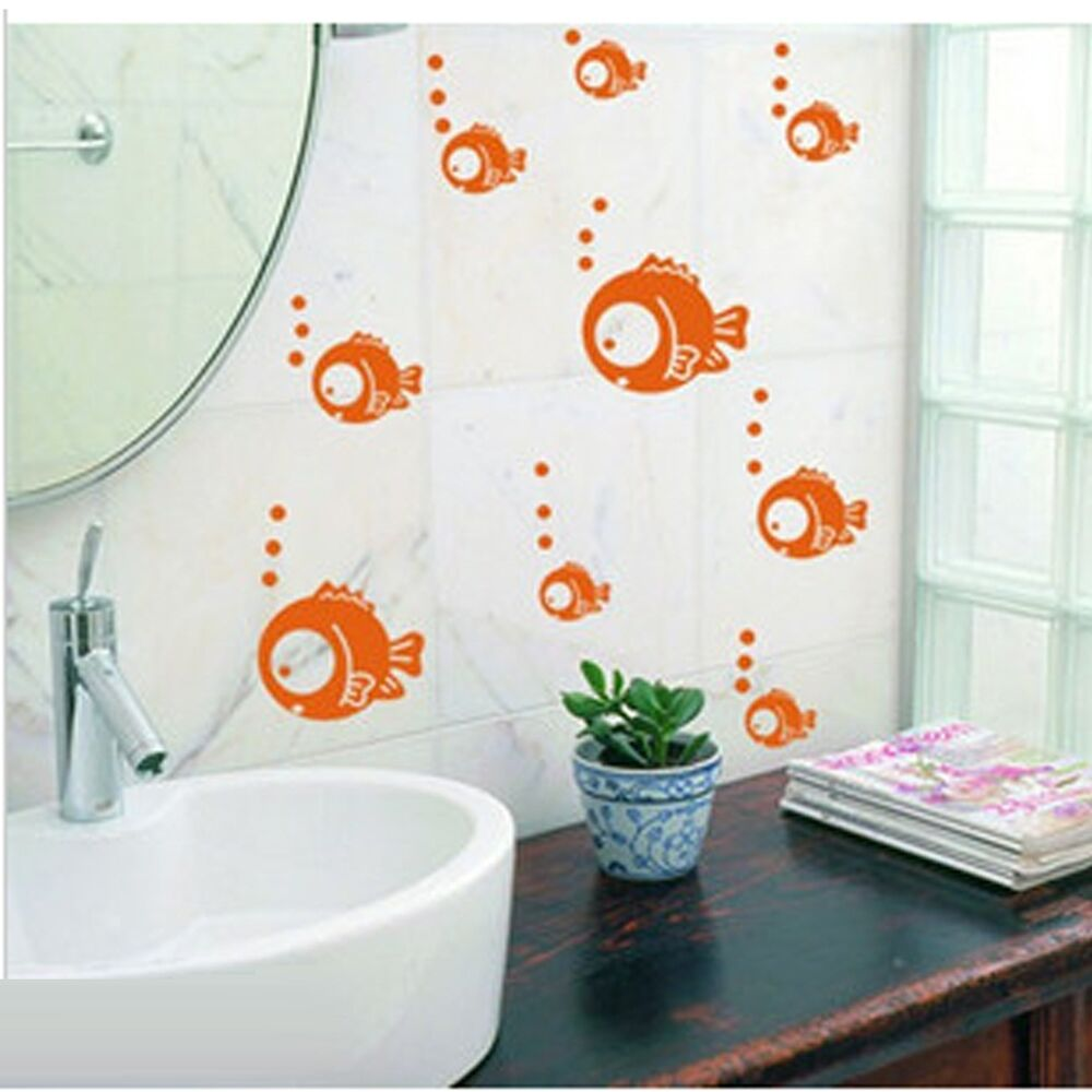 Tropical fish bubble wall sticker kids baby nursery for Children s bathroom designs