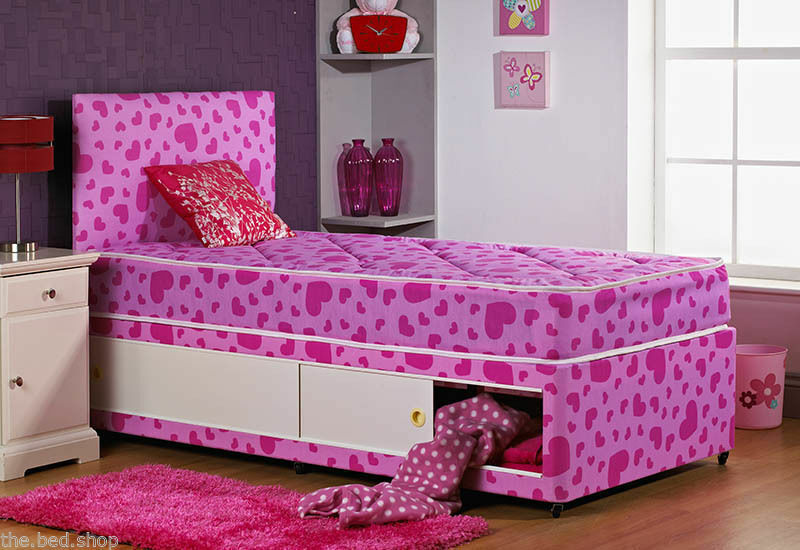 Kids shorty 2ft6 75 x 175 cm princess slide storage for Double divan bed with slide storage