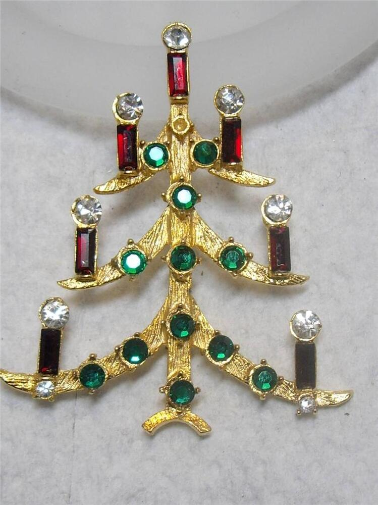 Vintage Gold Tone Rhinestone Christmas Tree with Candles ...