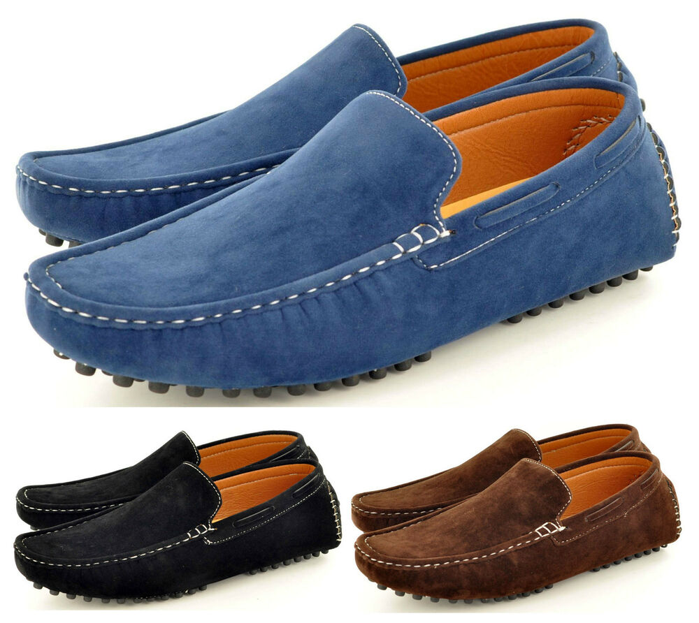 New Mens Faux Suede Casual Loafers Moccasins Slip on Shoes ...