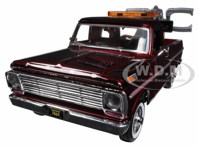 1969 ford f 100 tow truck burgundy 1 24 diecast car model by motormax 75345 ebay. Black Bedroom Furniture Sets. Home Design Ideas