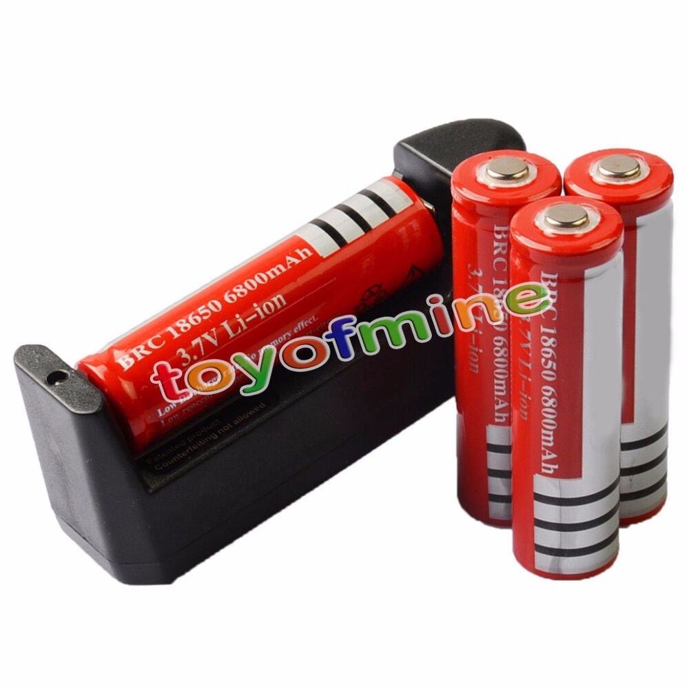 4x 3 7v 18650 li ion 6800mah red rechargeable battery aaa charger ebay. Black Bedroom Furniture Sets. Home Design Ideas