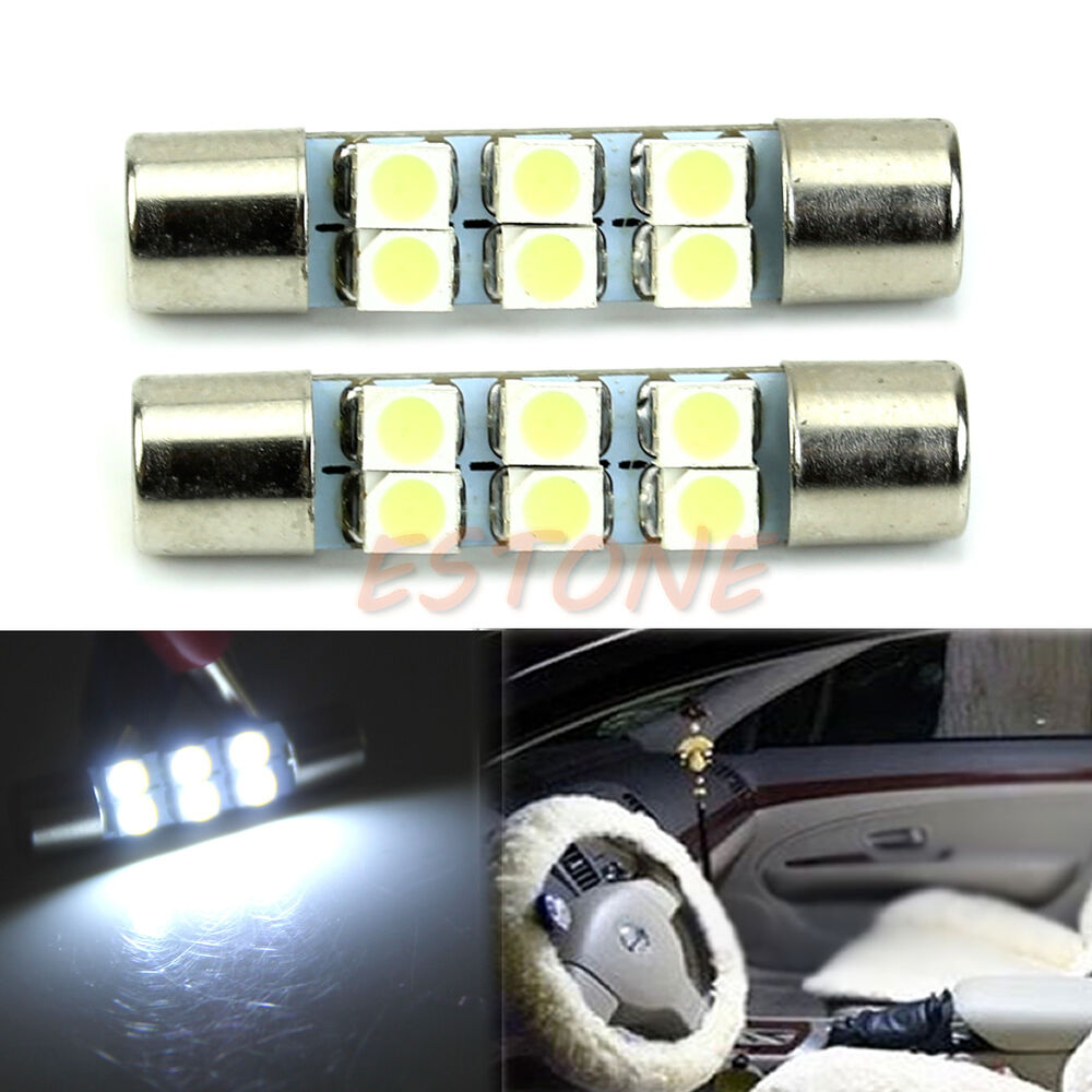 Vanity Mirror Lights In Car : 2pcs White 6-SMD T6 3528 LED Bulbs For Car Sun Visor Vanity Mirror Fuse Lights eBay