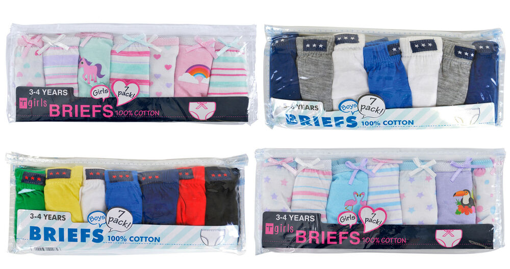 0a08077ff3 Details about Kids Girls Boys 7 Pairs Pack 100% Cotton Briefs Knickers  Pants Underwear Size