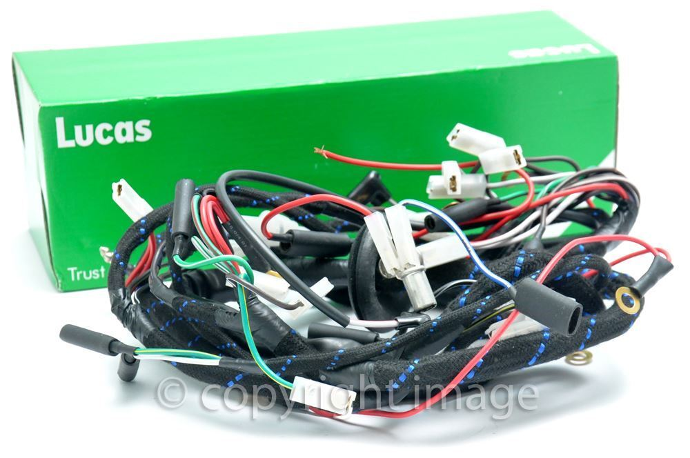 lucas motorcycle wiring harness triumph t100, t120, tr6, 1969-70 wiring harness | ebay