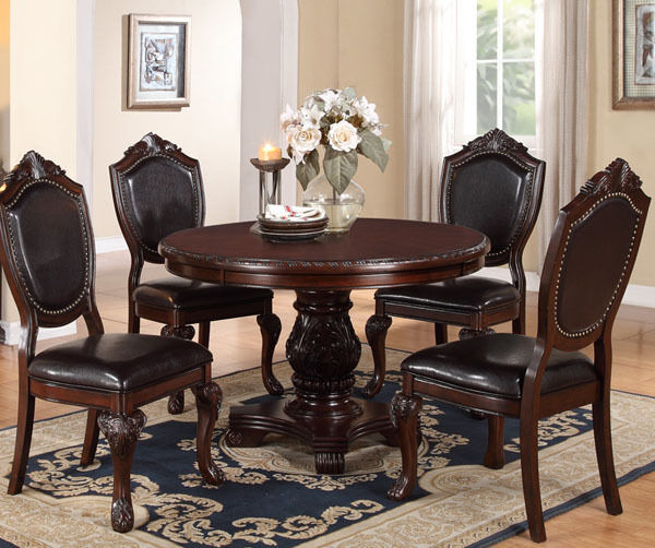 New 5pc strasbourg dark cherry finish wood round pedestal for Cherry wood dining room set
