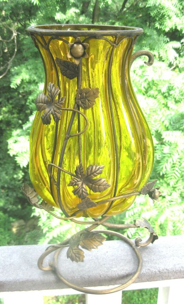 Amber glass fluted centerpiece vase with floral wrought