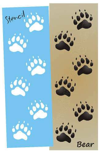 Stencil bear tracks paw print border cabin lodge sign ebay for Bear footprints template