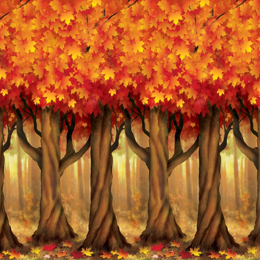 Fall thanksgiving party decoration mural autumn trees for Autumn party decoration ideas