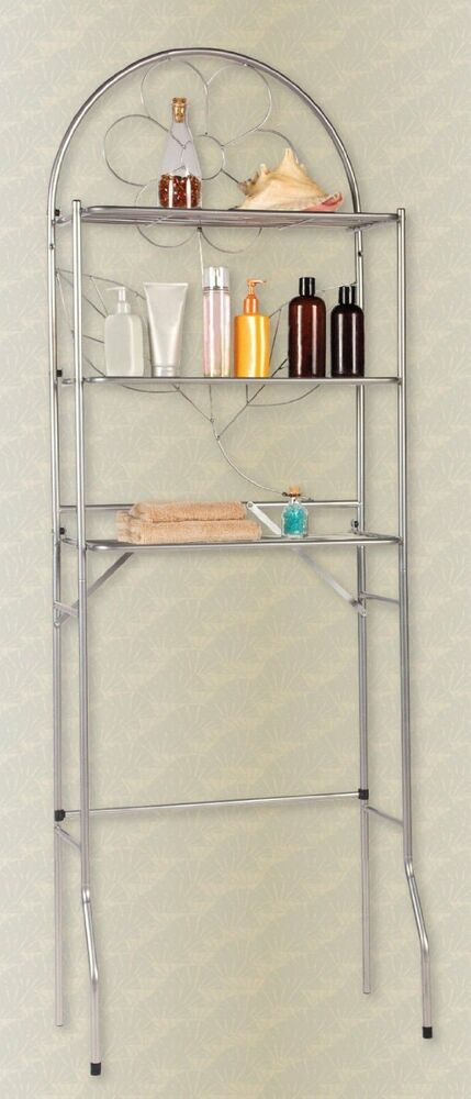 Over The Toilet Bathroom Space Saver 3 Shelf Etagere Silver Ebay