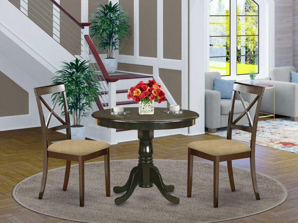 3PC DINETTE KITCHEN TABLE 2 X BACK CHAIRS MICROFIBER