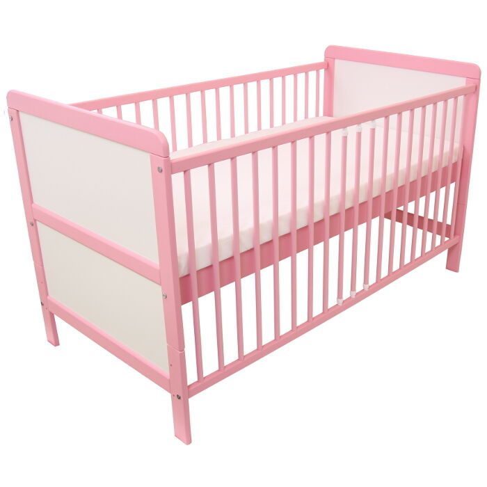 babybett kinderbett gitterbett juniorbett umbaubar 140x70cm massivholz rosa neu ebay. Black Bedroom Furniture Sets. Home Design Ideas