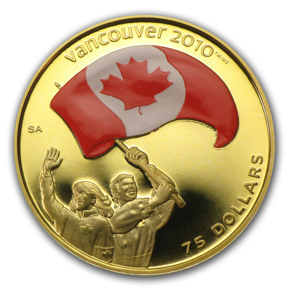 .225 oz Proof Gold Colored Canadian Olympic $75 Coin ...