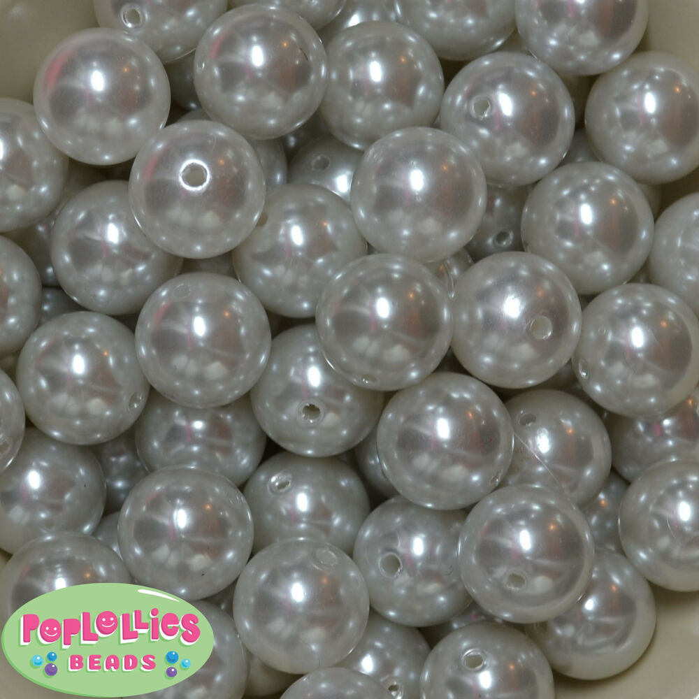 20mm Bead Beads: 20mm Bubblegum Beads 20 WHITE Acrylic Faux Pearl Beads
