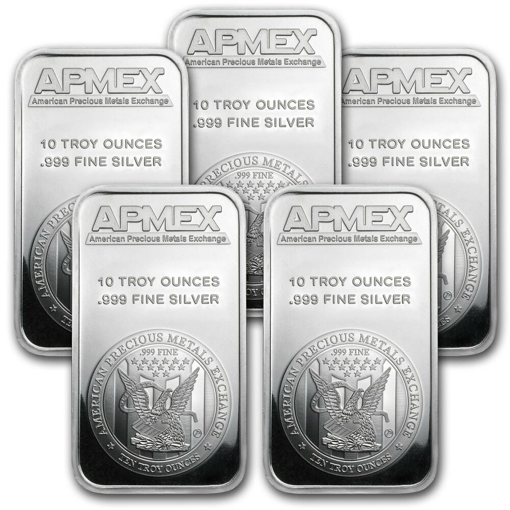 10 Oz Apmex Silver Bar Lot Of 5 Bars Sku 80622 Ebay