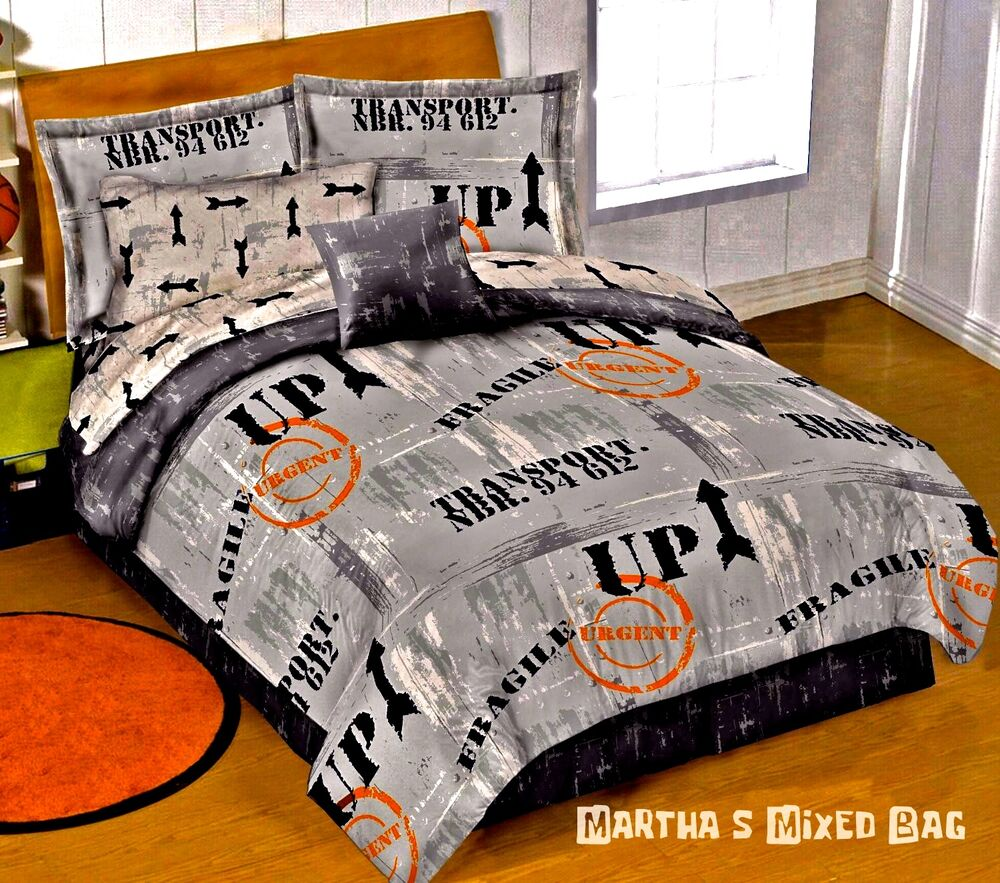 Warehouse District Signs Gray Urban Boys Dorm Bedding