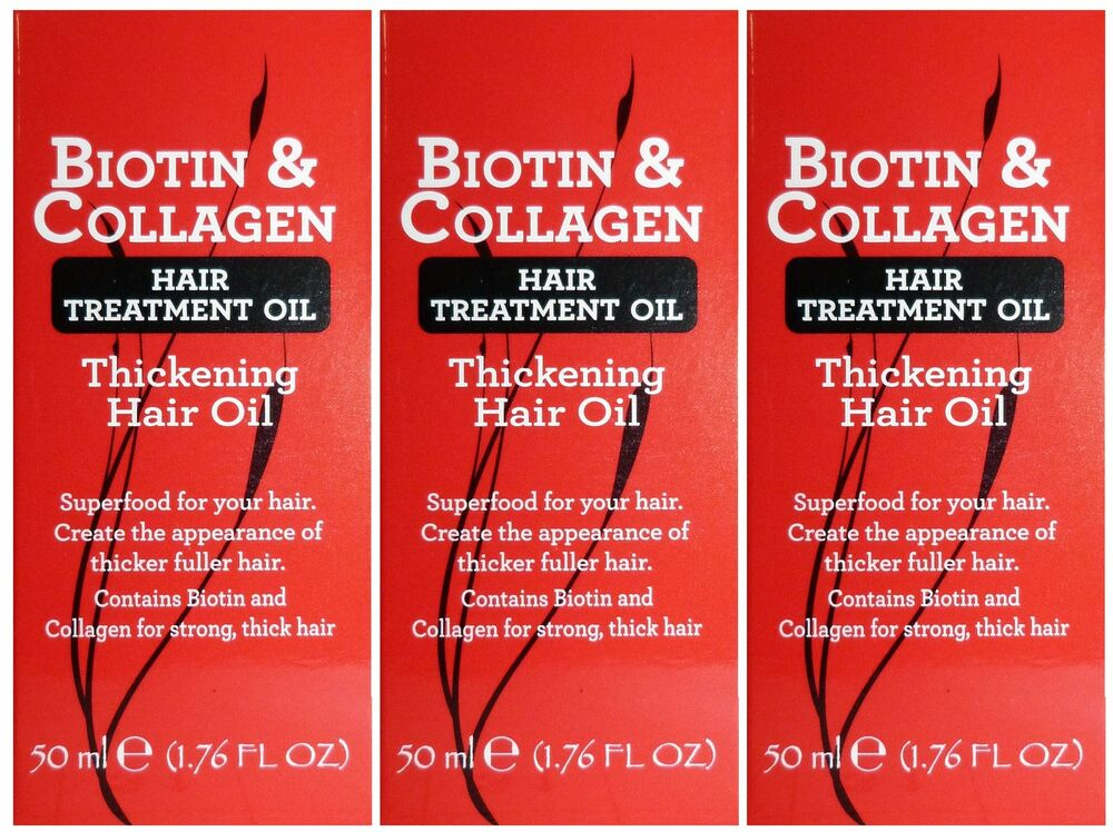 3 X 50ml Biotin Amp Collagen Hair Treatment Thickening Oil