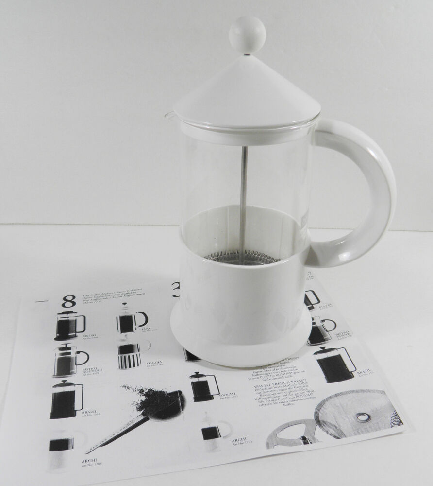 bodum 8 cup archi french press coffee maker 32oz 1l white c jorgensen vgc ebay. Black Bedroom Furniture Sets. Home Design Ideas