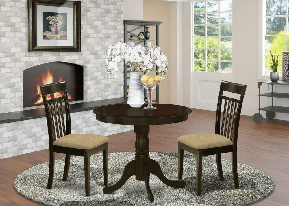 3pc set dinette kitchen table w 2 microfiber upholstered chairs in cappuccino ebay - Ebay kitchen table sets ...