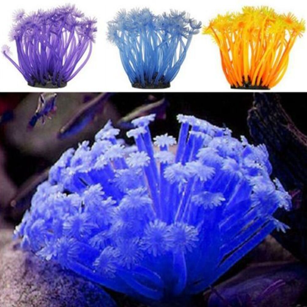 Artificial anemone coral plant ornament aquarium fish tank for Fish tank coral decorations