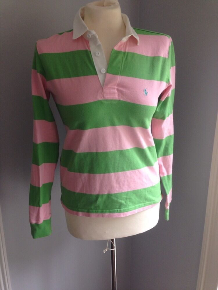 Pink And Green Striped Polo Ralph Lauren Rugby Shirt Sz